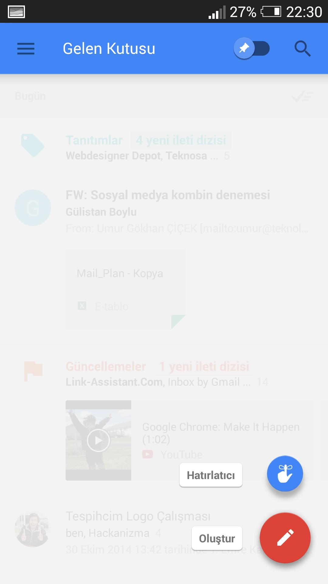Hatırlatıcı Gmail İnbox