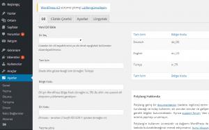 Polylang Dil ayar ekranı